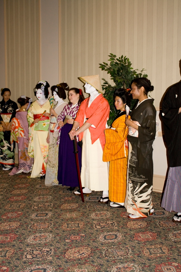 A group of various Kimonos throughout history featuring a Ronin, peasant girl, formal attire, modern Geisha kimono, and a couple that I cannot remember!
