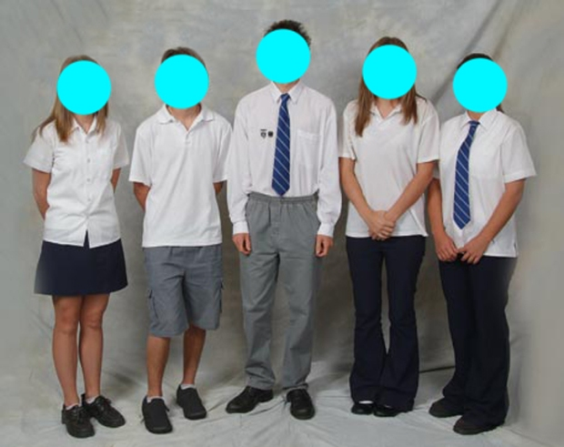 An example of approximately what my school uniform looked like. The girl'a outfits look almost identical in shape to how mine did