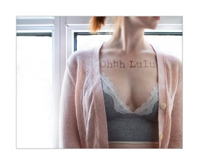 Ohhh Lulu Custom Bralette in Heather Grey with White Lace Detail